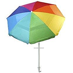 Ammsun 8 Panels 7 Ft Sand Anchor Rainbow Beach Umbrella with Tilt Heavy Duty Beach Umbrella Silver Coating Inside UPF50+