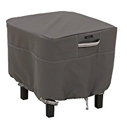 Classic Accessories Ravenna Square Ottoman/Side Table Cover – Premium Outdoor Furniture Cover with Durable and Water Resistant Fabric, Small, Taupe (55-168-025101-EC)