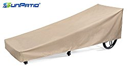 SunPatio Outdoor Patio Chaise Lounge Cover, Extremely Lightweight, Water Resistant, Eco-Friendly, Helpful Air Vents, 84″L x 30″W x 24″H