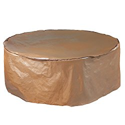 """Abba Patio Outdoor/Porch Round Table and Chair Set Cover, Water proof, All Weather Protection, Tan, 84"""" Dia."""