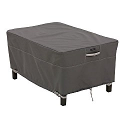 Classic Accessories Ravenna Rectangular Patio Ottoman/Table Cover – Premium Outdoor Furniture Cover with Durable and Water Resistant Fabric, Small (55-166-025101-EC)