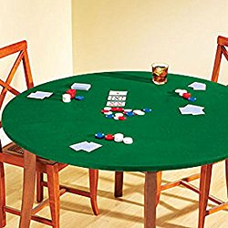Fitted Round Elastic Edge Solid Green Felt Table Cover for Poker Puzzles Board Games Fits 36″ to 48″ Also Fits 36″ Square