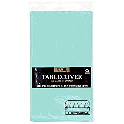 Robin Egg Blue Teal Plastic Table Cover 108 x 54 In