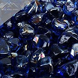Blue Ridge Brand™ Dark Blue Reflective Fire Glass Diamonds – 50-Pound Professional Grade Fire Pit Glass – 1″ Reflective Fire Pit Glass Bulk Contractor Pack