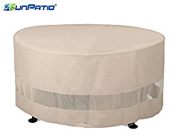 SunPatio Outdoor Round Fire Pit or Ottoman Cover,50″Diax24″H,Extremely Lightweight,Water Resistant,Eco-Friendly,Helpful Air Vents