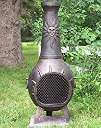 The Blue Rooster Co. Sun Stack Style Cast Aluminum Wood Burning Chiminea in Gold Accent.