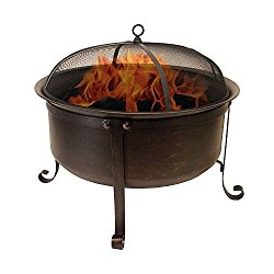Catalina Creations Round Cauldron Wood Burning Patio Fire Pit with Oil Rubbed Bronze Finish, Mesh Spark Screen and Accessories, 34″ L x 34″ W