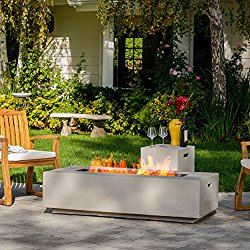 Jaxon Outdoor Fire Table with Lava Rocks & Tank Holder (White)