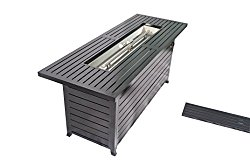 Legacy Heating CDFP-S-CB Retangular Fire Pit Table With Stainless Steel Burner And Table Lid, Hammered Black