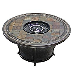 TK Classics FP-TEMPE-KIT Tempe Round Slate Top Gas Fire Pit Table, 48″