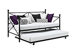 DHP Sturdy Modern Metal Daybed Roll Out Trundle Combo, Crisscross Design, Twin Size