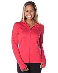Global Women's Slim Fit Lightweight Full Zip Yoga Workout Jacket XL Coral