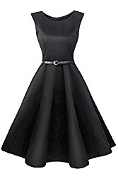 LaceLady BoatNeck Vintage Sleeveless Tea Dress with Belt Pleated Swing Party Black M