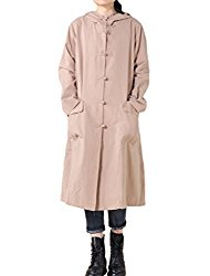 Mordenmiss Women's Long Sleeve Hooded Frog Button Coat With Two Pockets Style 3 M Khaki