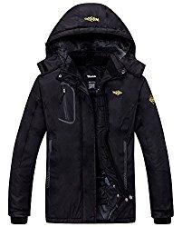 Wantdo Women's Waterproof Mountain Jacket Fleece Windproof Ski Jacket, Black, Medium