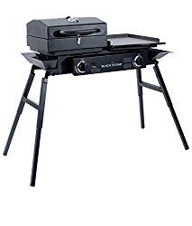Blackstone Grills Tailgater – Portable Gas Grill and Griddle Combo – Barbecue Box – Two Open Burners – Griddle Top – Adjustable Legs – Camping Stove Great for Hunting, Fishing, Tailgating and More