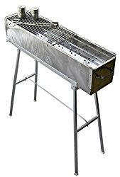 "Party Griller 32"" Stainless Steel Charcoal Grill – Portable BBQ Grill, Yakitori Grill, Kebab Grill, Satay Grill. Makes Juicy Shish Kebab, Shashlik, Spiedini on the Skewer"