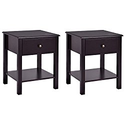 Giantex Night Stand End Table w/ Drawer and Shelf, Storage Cabinet for Bedroom, Modern Beside Accent Table, Brown