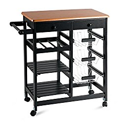 Merax 26″ Portable Storage Island Kitchen Trolley Cart with Drawers (Black NO.1)