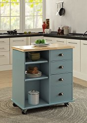 Oliver and Smith – Nashville Collection – Mobile Kitchen Island Cart on Wheels – Blue Grey – Natural Oak Butcher Block – 31″ W x 18″ L x 36″ H