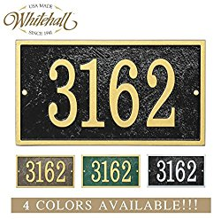 Personalized Cast Metal Address plaque with rectangle shape. Four colors available! Custom house number sign.