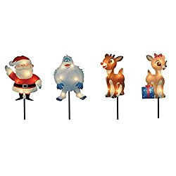 ProductWorks 8-Inch Pre-Lit Rudolph the Red-Nosed Reindeer Pre-Lit Christmas Pathway Markers (Set of 4)
