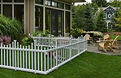 Zippity Outdoor Products ZP19001 No-Dig Vinyl Picket Unassembled Garden Fence (2 Pack), 30″ x 58″, White
