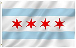 ANLEY [Fly Breeze] 3×5 Foot City of Chicago Flag – Vivid Color and UV Fade Resistant – Canvas Header and Double Stitched – Chicago IL Flags Polyester with Brass Grommets 3 X 5 Ft