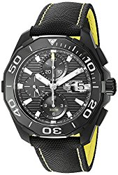 TAG Heuer Men's 'Aquaracracer' Swiss Automatic Stainless Steel and Canvas Dress Watch, Color:Black (Model: CAY218A.FC6361)