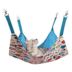 Cat Hammocks Bed Use with Cage or Chair, Reversible 2 Sides Small Pet Hammock for Kitten, Ferret,Bunny,Rabbit, Rat Hammock Comfortable Pet Hanging Bed,Soft Sleepy Pad,Sleeping and Resting Hammock-Blue