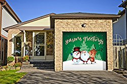 Outdoor Christmas Holiday Garage Door Banner Cover Mural Décoration – Christmas Characters Seasons Greetings Winter – Outdoor Christmas Holiday Garage Door Banner Décor Sign 8'x9′