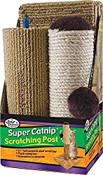 Four Paws Super Catnip 21″ Carpet and Sisal Scratching Post Cat House