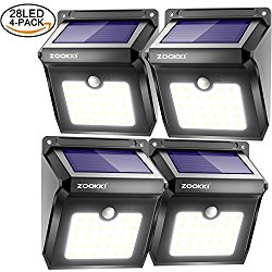 Zookki Upgraded 28 LEDs Wireless Solar Motion Sensor Light Rechargeable Waterproof Security Lights Powerful for Outdoors Wall Garden Patio Yard Pathway Weatherproof Outdoor Night Lighting 4 Pack
