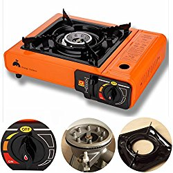 Portable Propane Butane Stove Outdoor Picnic Camping Gas Burner Cooktop Range (Orange)