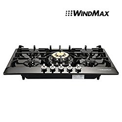 WindMax® 30 inch Black Titanium Plated Stainless Steel Golden Burner Built-In 5 Stoves NG Natural Gas Cooktops Cook Top Kitchen Cooker