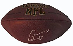 Carson Wentz Autographed Wilson NFL Football W/PROOF, Picture of Carson Signing For Us, Philadelphia Eagles, North Dakota State, 2016 NFL Draft, Top Prospect