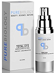 """Pure Biology """"Total Eye"""" Anti Aging Eye Cream Infused with Instant Lift Technology & Baobab Fruit Extract – Instant Firming & Long Term Reduction in Wrinkles, Bags & Dark Circles (1 oz.)"""