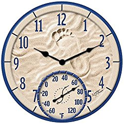 14″ By the Sea Poly Resin Clock with Thermometer