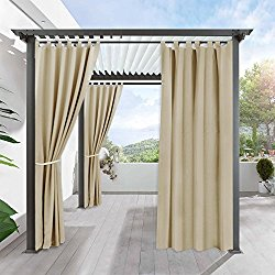 Indoor Outdoor Blackout Privacy Curtain – RYB HOME Tab Top Blackout Curtain Drape Fade Resitant UV Protection for Patio & Pergola, 1 Piece, 52 inch by 108 inch, Cream Beige
