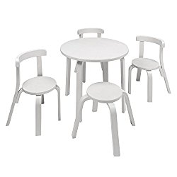 Kids Table and Chair Set – Svan Play with Me Toddler Table Set with 3 Chairs and Stool – 100% Wood (White)