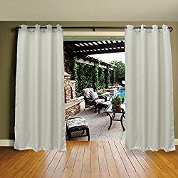 Mildew Resistant Thermal Insulated Grommet Top Indoor/Outdoor Curtain/Exterior Shades/Blinds,Stripe,Drapes for Patio Porch Door Pergola,Cabana,Gazebo,Dock Beach Home,Pearl White (54″x 96″)
