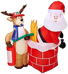 Gemmy Inflateables Holiday G08 87191 Air Blown Santa on Fire Scene Decor