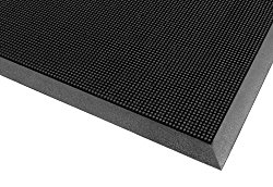 Notrax 345 Rubber Brush Styrene-Butadiene Rubber Entrance Mat, For Construction Traffic Area and Municipal Buildings, 24″ Width x 32″ Length x 5/8″ Thickness, Black