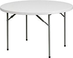 "Flash Furniture 48"" Round Granite White Plastic Folding Table"