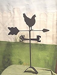 Hen Chicken Roof Mounted Weathervane Black Wrought Iron Handcrafted in the USA