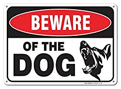 Beware Of Dog Sign By SigoSigns- Large 7 x 10 Inch Aluminum Warning Dog Sign – USA Made Of Rust Free Aluminum-UV Printed With Professional Graphics-Easy To Mount Indoors & Outdoors
