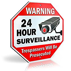 Diamond ULTRA REFLECTIVE Warning 24 Hour Surveillance No Trespassing Metal Sign | with for home business Video Security CCTV Camera | 12″L x 12″H Aluminum (12″x12″ Reflective