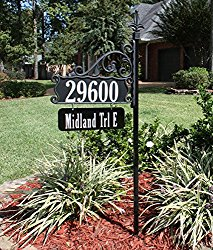 USA Handcrafted Boardwalk Double Sided Super Reflective Address Sign 48″ with Personalized Nameplate, Highly Visible Day/Night