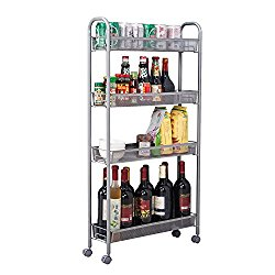 HOMFA 4-Tier Gap Kitchen Slim Slide Out Storage Tower Rack with Wheels, Cupboard with Casters – Silver