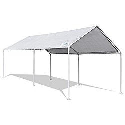 Quictent 20'X10′ Heavy Duty Carport Car Canopy Party Wedding Tent with Waterproof, Anti UV Gray Cover